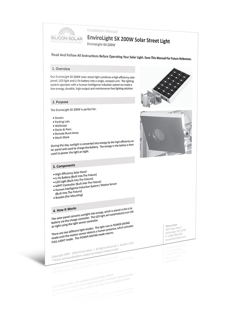 EnviroLight SX 200W Solar Street Light